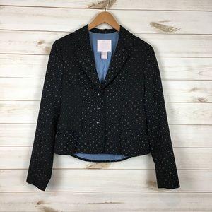 Polka Dot Black & Blue Wool Blend Blazer Jacket